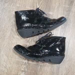 Fly London black patent leather lace up ankle boot